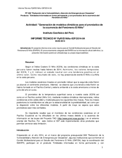 Informe Técnico Nº Pprel Niño Igp2014 04