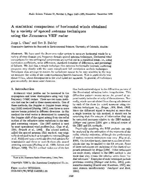 A statistical comparison of horizontal winds obtained by a