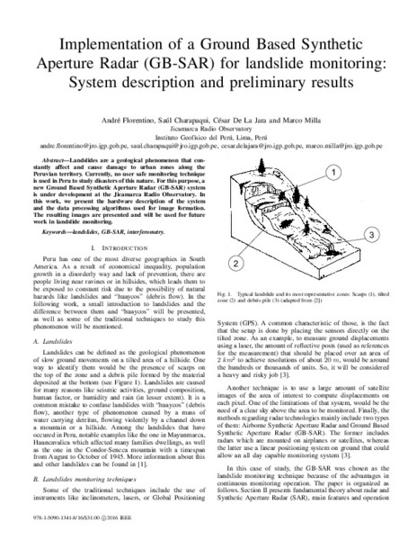 Implementation of a ground based synthetic aperture radar (GB-SAR